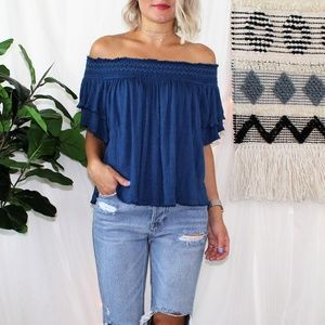 Free People Off The Shoulder Blue Boho Ruffle Top